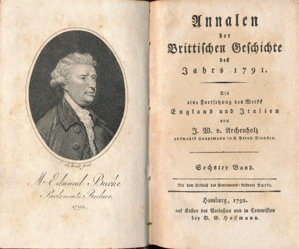 Frontispiz und Titelblatt eines Jahrbuches über die politischen und kulturellen Verhältnisse in England 1788