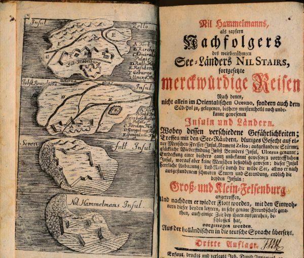 Frontispiz und Titel eines fiktiven Reiseberichts von Nils Stairs 1749