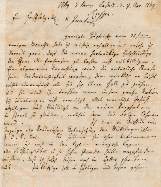 Vierseitiger Originalbrief von Rudolf Erich Raspe an den Verleger Friedrich Nicolai. 9. April 1769.