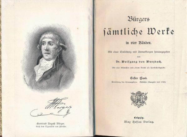 Frontispiz und Titelblatt von Bürgers Werken in 4 Bänden, Band 1, 1902