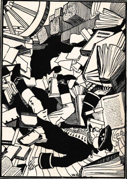 William Strang. Münchhausens Sturz in die Bibliothek von Alexandria. In: Anonym. The Surprising Adventures of Baron Munchausen. London: Chelsia Publishing 1895, S. 282